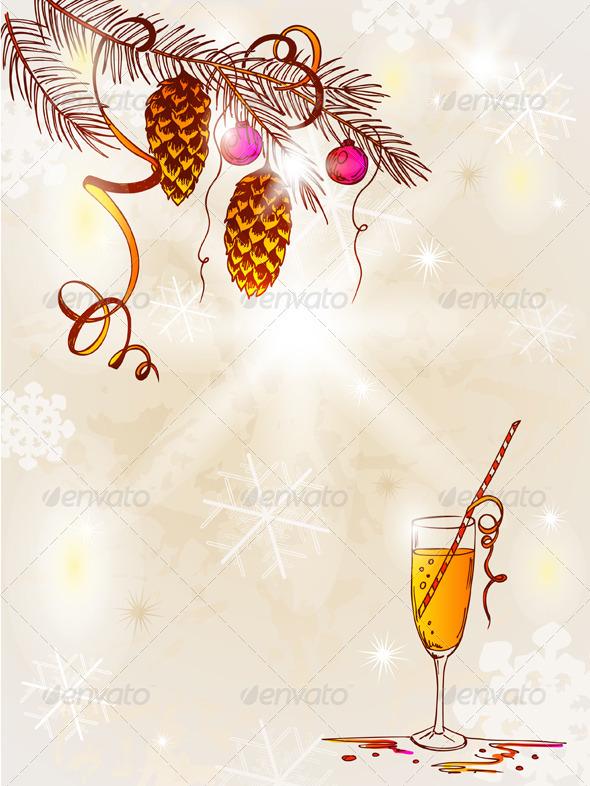 Vintage background with Christmas tree - Christmas Seasons/Holidays