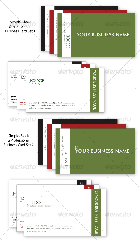 Simple, Sleek & Professional Business Card Set - Corporate Business Cards
