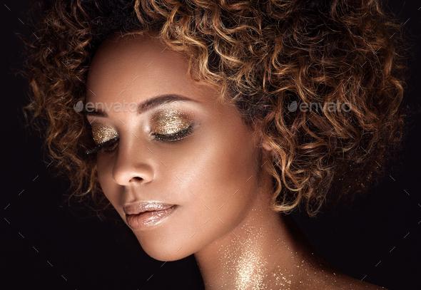 Gold Skin African American Woman