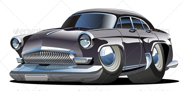 Cartoon Retro Car - Man-made Objects Objects