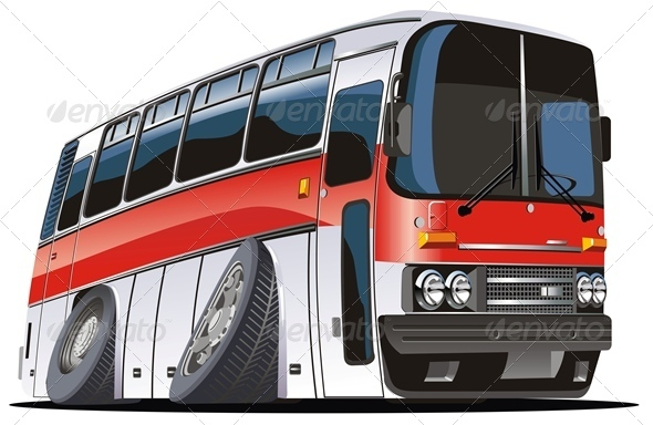 Vector Cartoon Tourist Bus - Travel Conceptual