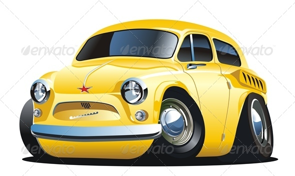Cartoon Retro Car - Man-made Objects Objects