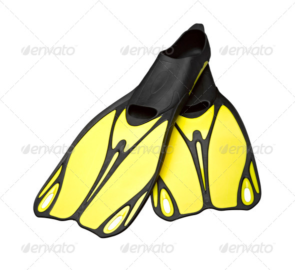 Yellow Flippers isolated on the white background - Stock Photo - Images