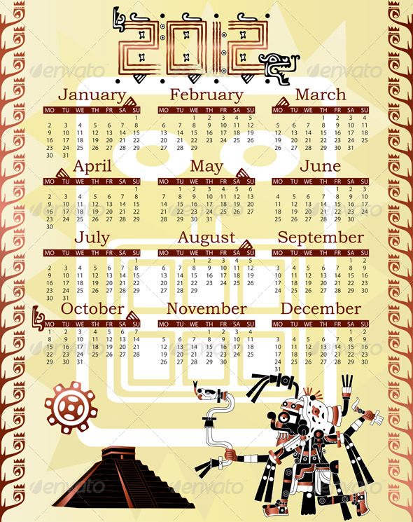 Calendar in mayan style - New Year Seasons/Holidays