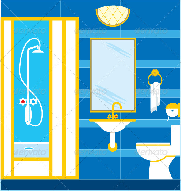 Bathroom. Shower cabin - Objects Vectors