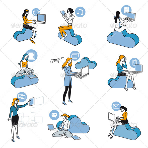 Cloud Computing Blue Girls Set - Communications Technology