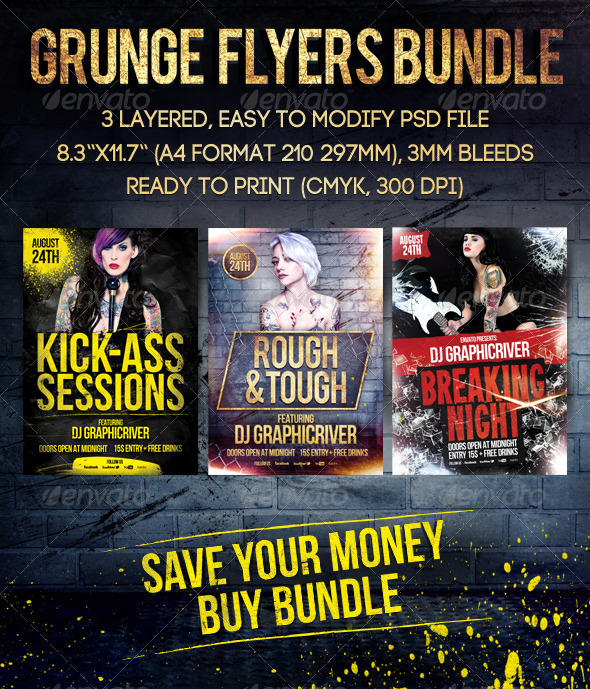 Grunge Flyers Bundle - Clubs & Parties Events