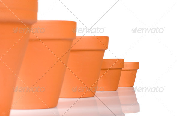 flowerpot in a row - Stock Photo - Images