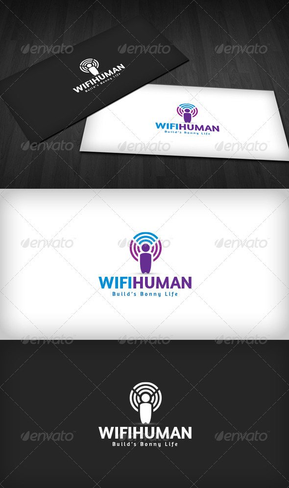 Wifi Human Logo - Vector Abstract