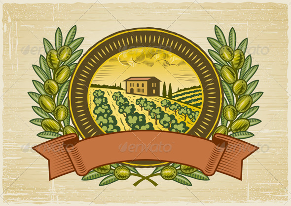 Olive Harvest Label - Decorative Symbols Decorative