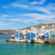 Little Venice houses in Chora Mykonos town with yacht and cruise ship. Mykonos island, Greecer - PhotoDune Item for Sale