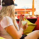 Young blonde woman with coctail glass in cafe - PhotoDune Item for Sale