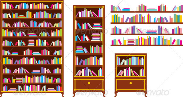 Set of bookcases and shelves - Objects Vectors