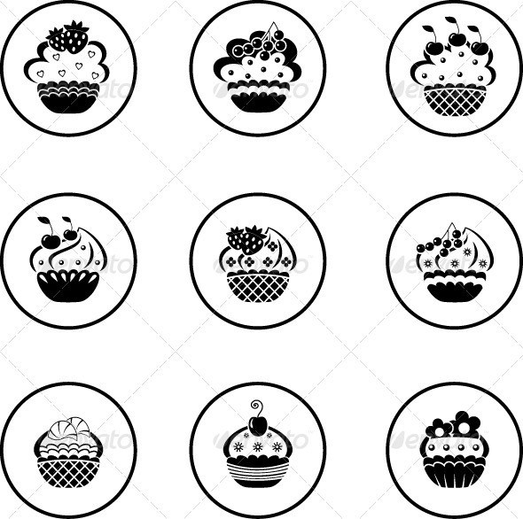 Cupcakes set - Objects Vectors