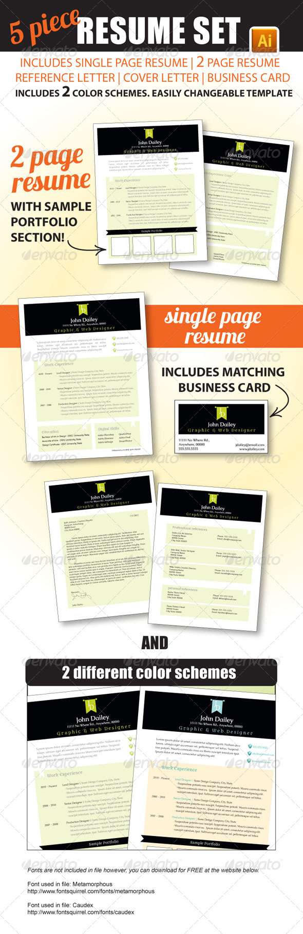 5 Piece Resume Set - Resumes Stationery