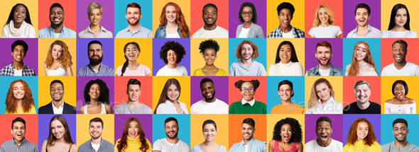 Collection Of Different Joyful Millennials Portraits On Colored Backgrounds, Panorama - Stock Photo - Images