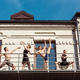 The group of modern ballet dancers performing on the stairs at the city - PhotoDune Item for Sale