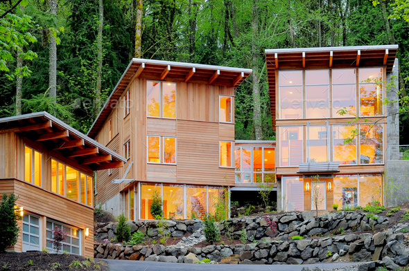 54224,Modern house in woods - Stock Photo - Images