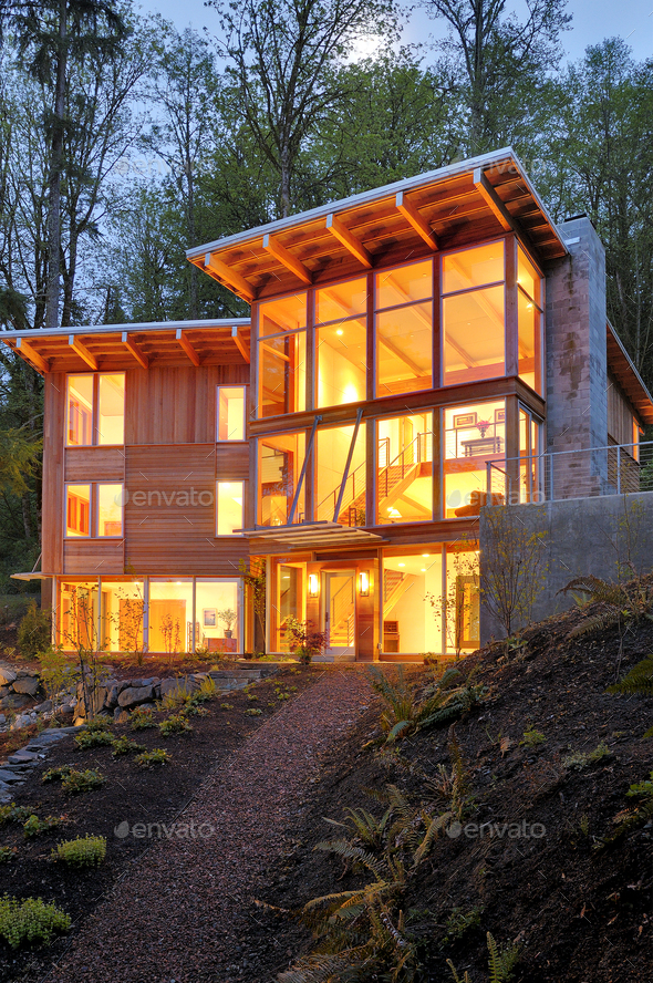 54226,Modern house in woods - Stock Photo - Images