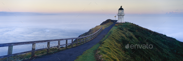 51188,Cape Reinga Lighthouse at Dawn - Stock Photo - Images