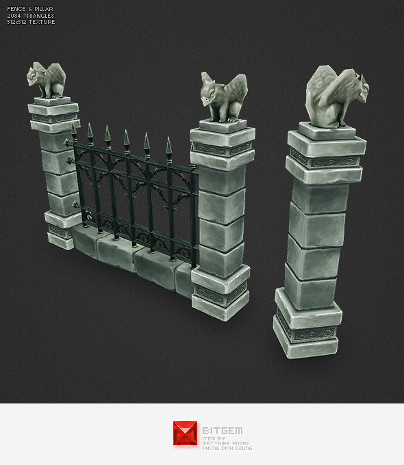 Low Poly Cemetery Fence - 3DOcean Item for Sale
