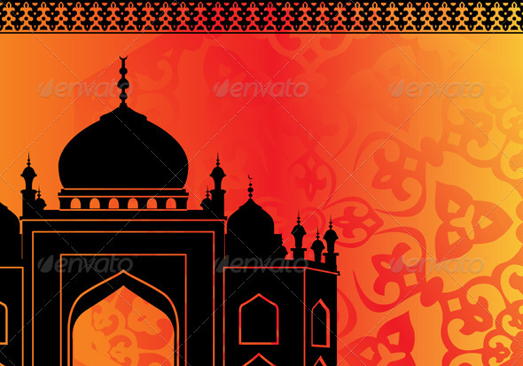 Islamic card with mosque - Religion Conceptual