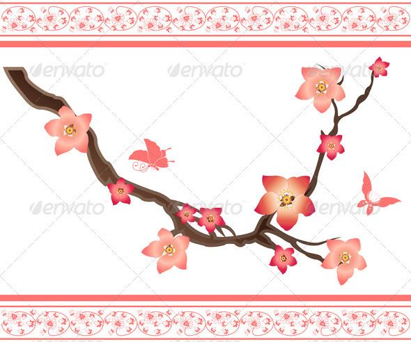 Sakura elements and butterflies - Flowers & Plants Nature