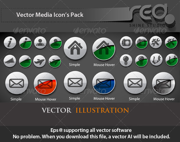 Mouse Hover Vector Icons Set - Web Elements Vectors
