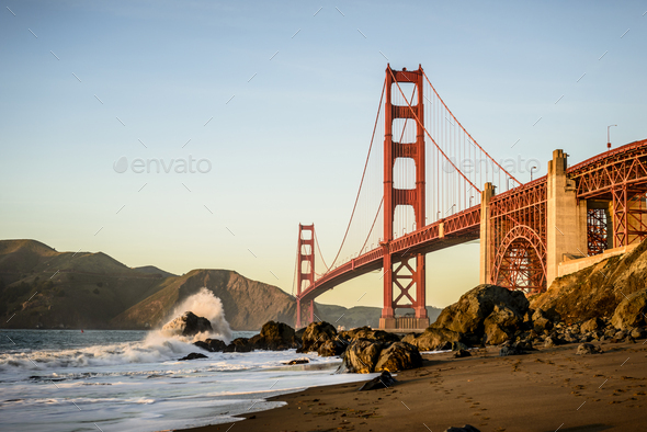54935,View of Golden Gate Bridge from beach, San Francisco, California, United States - Stock Photo - Images