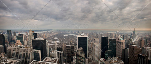 View of New York City from the Rockefeller building - Stock Photo - Images