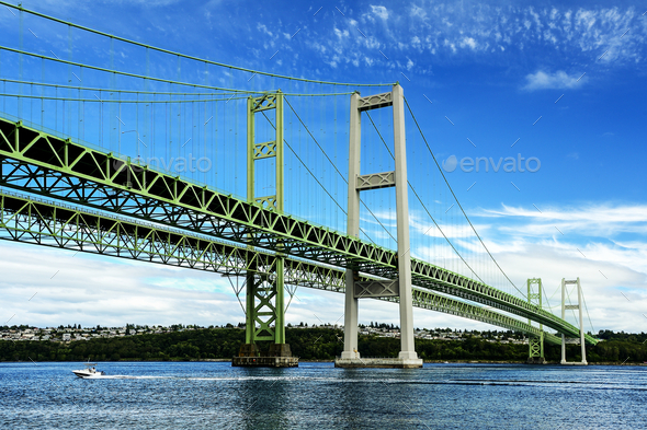 54663,Narrows Bridge, Tacoma, Washington, United States - Stock Photo - Images