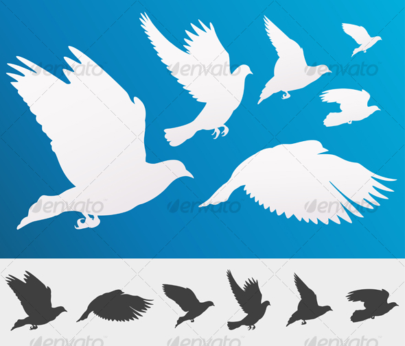 Graceful flying white doves - Organic Objects Objects