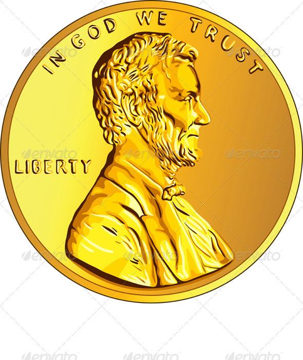 Vector American Money Gold Coin - Business Conceptual