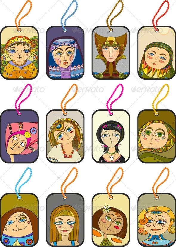 Girl Face Label Set - Conceptual Vectors