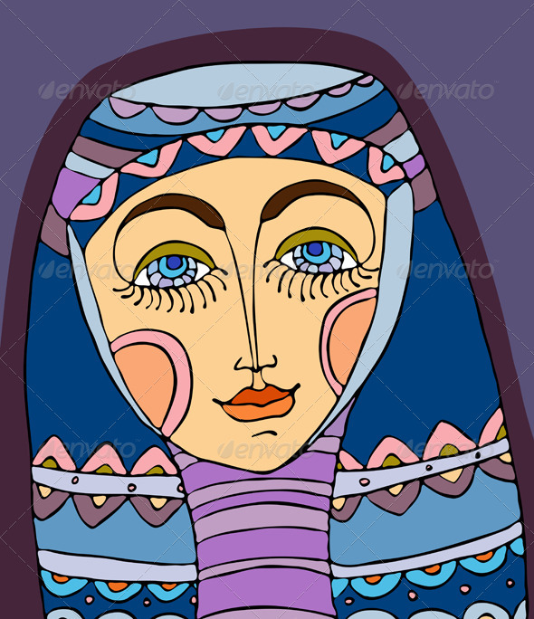 Girl Face Purple Headscarf - People Characters