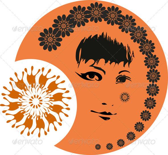 Girl Face Sun  - Decorative Vectors