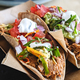 Close up of fresh tacos with pulled pork - PhotoDune Item for Sale