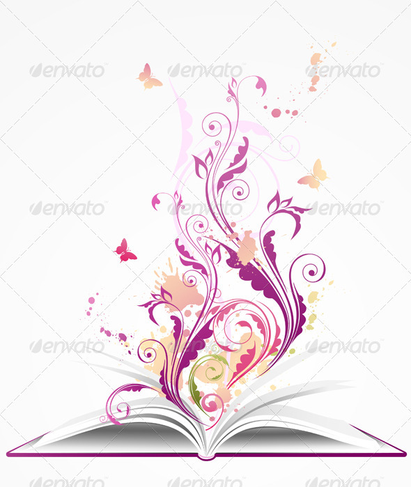 Background with Open  Book - Decorative Symbols Decorative