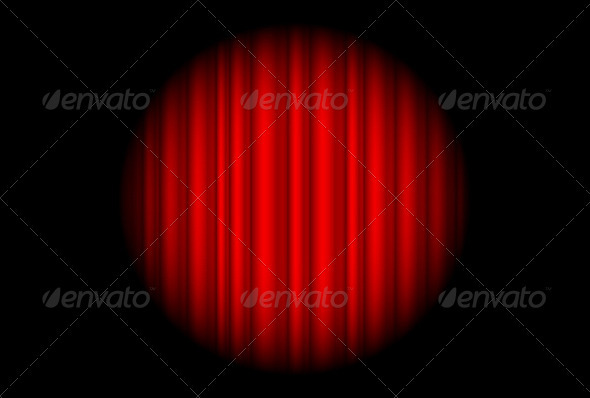 Stage with red curtain and big spot light - Backgrounds Decorative