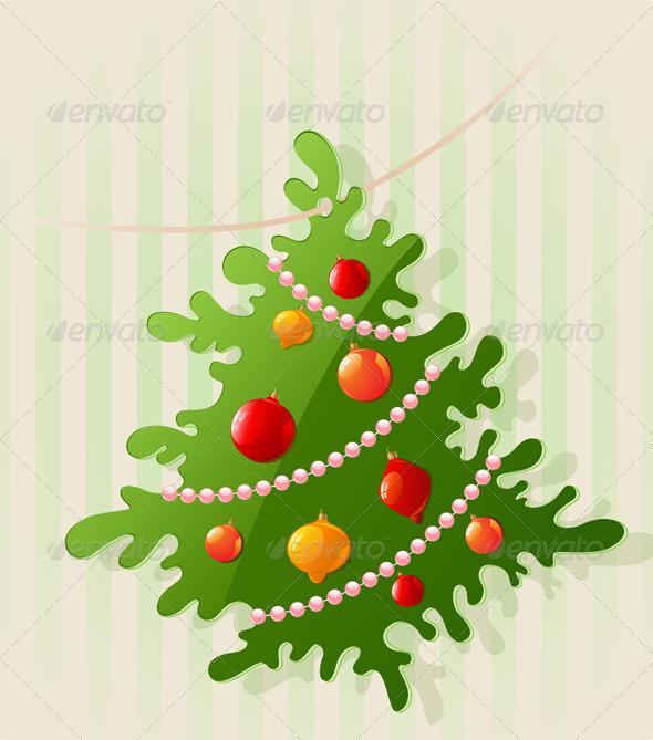 Background with Christmas Tree - Christmas Seasons/Holidays
