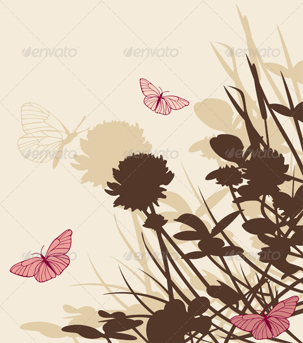 Floral Background with Clover Flowers - Flowers & Plants Nature