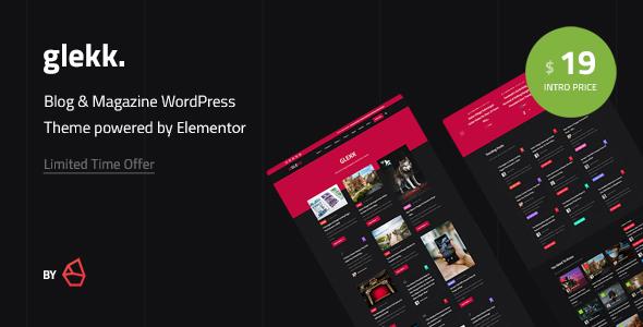 Download Glekk – Elementor Blog & Magazine WordPress Theme Free Nulled