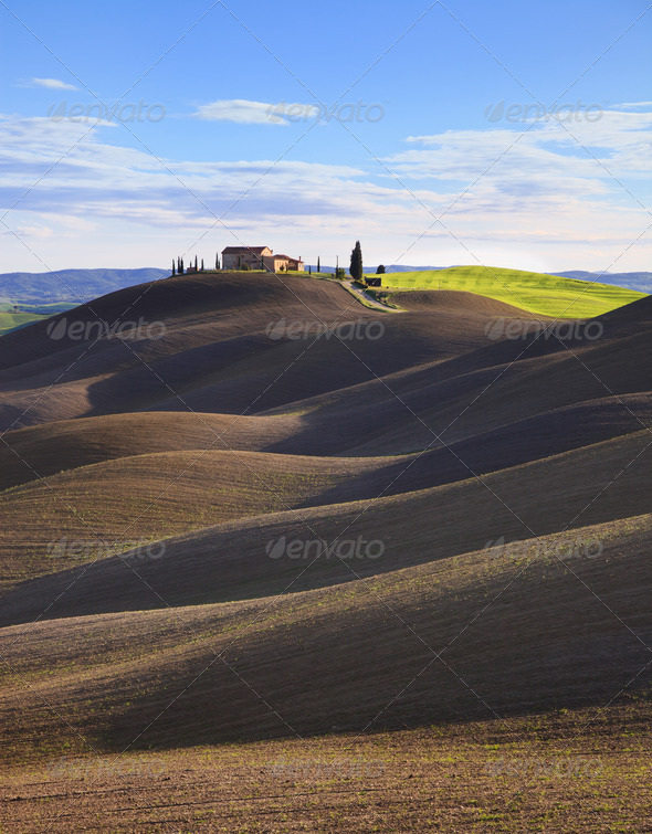 Tuscany, rural  landscape. Rolling hills, countryside farm, trees. Siena, Italy. - Stock Photo - Images