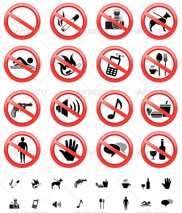 Forbidden signs set - Man-made Objects Objects