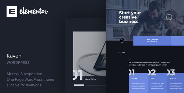 Kaven - Business One Page WordPress Theme