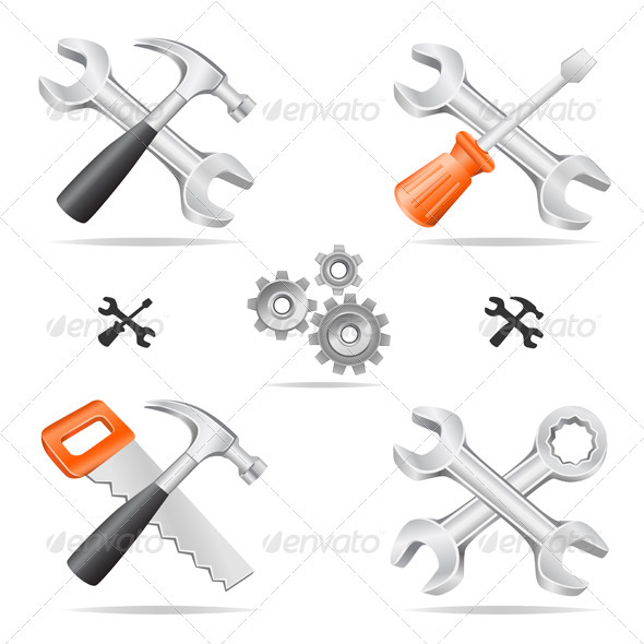 Tools icon set - Man-made Objects Objects