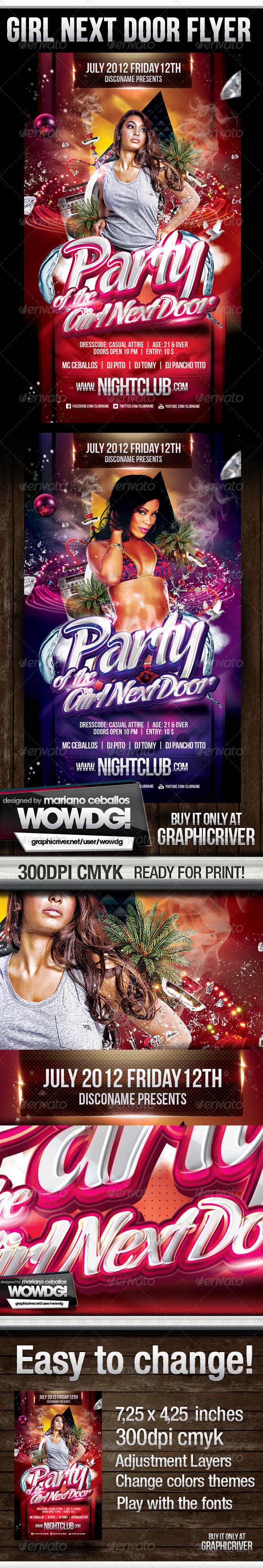 Girl Next Door Party Flyer - Flyers Print Templates