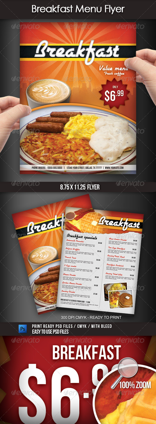 Breakfast Menu Flyer - Restaurant Flyers