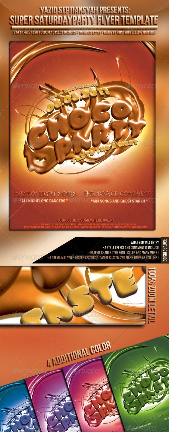 Choco Party Flyer Template - Clubs & Parties Events