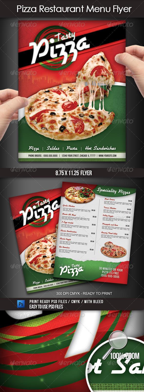 Pizza Restaurant Menu Flyer - Flyers Print Templates